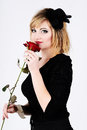 Lady with rose Stock Images