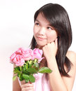 Lady and rose a beautiful sweet asian holding a bunch of roses Royalty Free Stock Photo