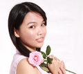 Lady and rose a beautiful sweet asian holding a bunch of roses Royalty Free Stock Image