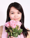 Lady and rose a beautiful sweet asian holding a bunch of roses Royalty Free Stock Photos
