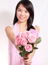 Lady and rose a beautiful sweet asian holding a bunch of roses Stock Photography