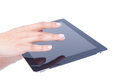 Lady s hand holding a tablet Stock Image