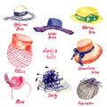 Lady`s hats types Royalty Free Stock Photo