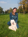 Lady with Samoed Royalty Free Stock Photography