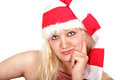 Lady santa asking what do you want this christmas asks Stock Photos