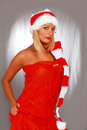 Lady santa cute the party girl Stock Photo