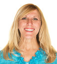 Lady with satisfied smile single middle aged female Royalty Free Stock Photos