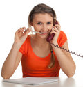 Lady secretary speaking on the phone Royalty Free Stock Photo