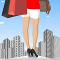 Lady with shopping bag in city easy to edit vector illustration of fashionable Stock Photography