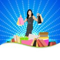 Lady with shopping bag easy to edit vector illustration of in fashion sale poster Stock Photos