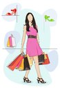 Lady shopping in Shoe store Stock Photos
