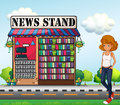 A lady standing beside the news stand illustration of Stock Photos