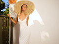 Lady in straw hat Royalty Free Stock Photos