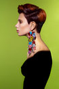 Lady with stylish hairdo fashion art photo of beautiful Stock Image