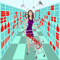 Lady in supermarket with cart and word shopping inside it on background Royalty Free Stock Photography