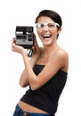 Lady takes images with cassette photographic camera isolated on white Stock Photo