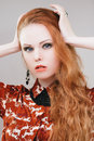 Lady vamp sensual fashion portrait of redhead girl with long hair Stock Photos