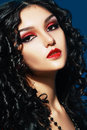 Lady vamp style styled make up beautiful teen fashion model close up portrait Royalty Free Stock Photography