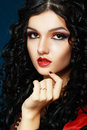 Lady vamp style styled make up beautiful teen fashion model close up portrait Royalty Free Stock Image