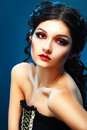 Lady vamp style styled make up beautiful teen fashion model close up portrait Royalty Free Stock Photos