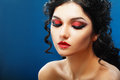 Lady vamp style styled make up beautiful teen fashion model close up portrait Stock Photo