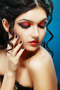 Lady vamp style styled make up beautiful teen fashion model close up portrait Royalty Free Stock Images