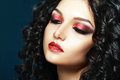 Lady vamp style styled make up beautiful teen fashion model close up portrait Stock Images
