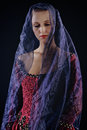 Lady in veil woman baroque costume with voile on black background Royalty Free Stock Image