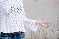 Lady wear white gauzy shirt Royalty Free Stock Photo