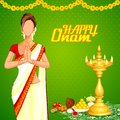 Lady wishing happy onam vector illustration of Royalty Free Stock Image