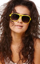 Lady in yellow glasses fashionable portrait of young beautiful girl sunglasses Stock Image