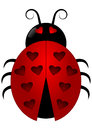 Ladybird with heart spots ladybug shaped Royalty Free Stock Images