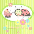 Ladybird mom and baby card for newborn congratulation shower invitation Royalty Free Stock Image