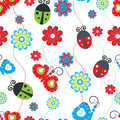 Ladybirds and butterflies background Royalty Free Stock Photo