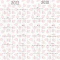 Ladybug calendar for 2011 and 2012 Royalty Free Stock Photography