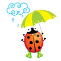 Ladybug cute standing in the rain with an umbrella Royalty Free Stock Photos