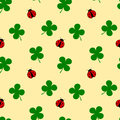 Ladybug and four leaf clover seamless pattern good luck illustration Royalty Free Stock Photo