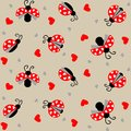 Ladybug with hearts seamless pattern - vector