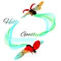 Ladybug hello goodbye wavy lines Royalty Free Stock Photo