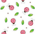 Ladybug pattern colorful of and leaves eps Stock Photos