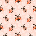 Ladybug pink cartoon seamless vector pattern.