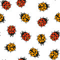 Ladybug seamless pattern. Vector illustration.