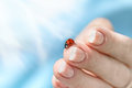 Ladybug sitting on a human hand on a Sunny spring day on a background of blue sky. The horizontal frame. Royalty Free Stock Photo