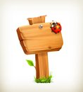 Ladybug on wooden sign illustration white background Stock Image