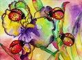 Ladybugs Iris Watercolor
