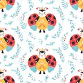 Ladybugs Seamless pattern Ladybird and flowers background Royalty Free Stock Photo