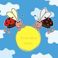 Ladybugs two different ladybirds the possibility to write your own text Royalty Free Stock Photography