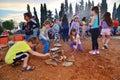 Lag baomer bonfires in israel tel aviv may secular israeli kids having fun at with and food Stock Image