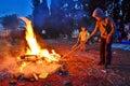 Lag baomer bonfires in israel tel aviv may secular israeli kids having fun at with and food motion long exposure Stock Image