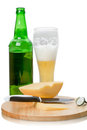 Lager beer and cheese Royalty Free Stock Images